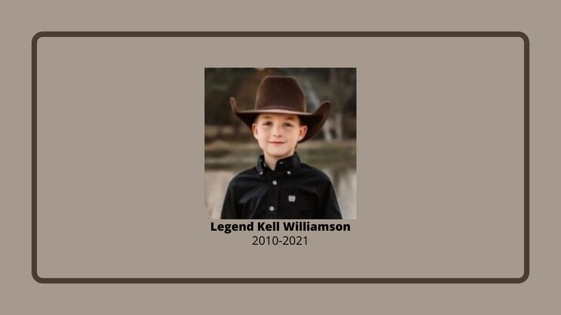 Legend Kell Williamson, 10, of Lufkin, Texas, died Sunday, Oct. 3, 2021, in DeRidder, Louisiana.