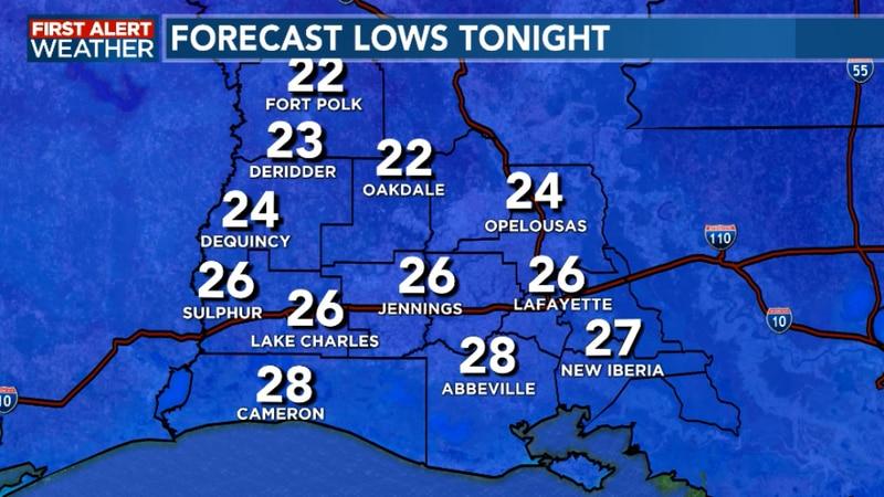 Lows tonight