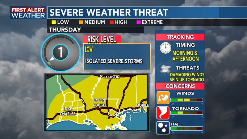 A threat of strong to severe storms are possible for Thursday