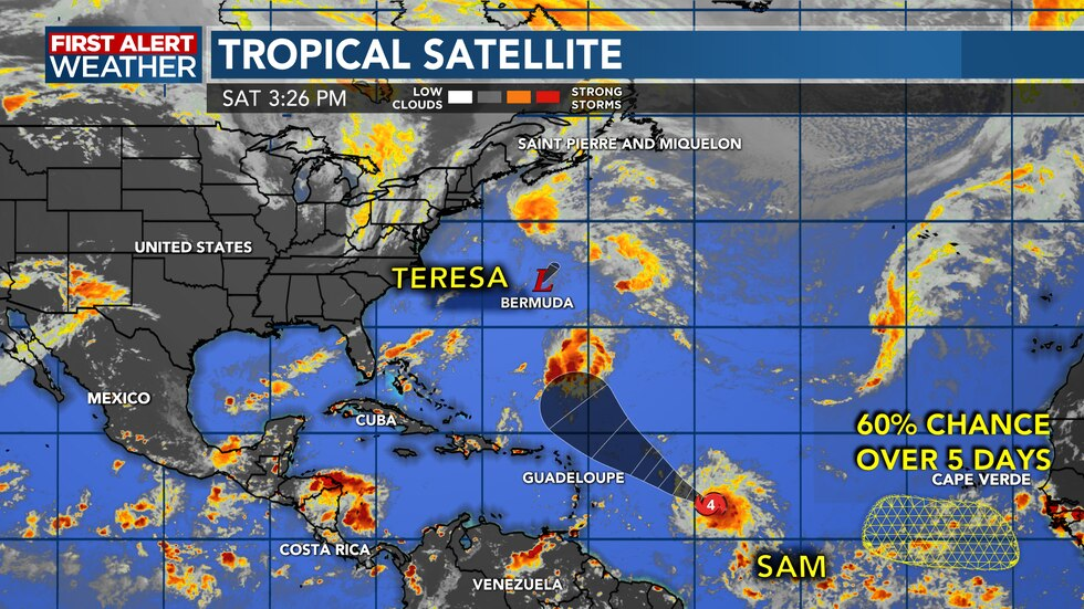 Hurricane Sam still churning in the Atlantic