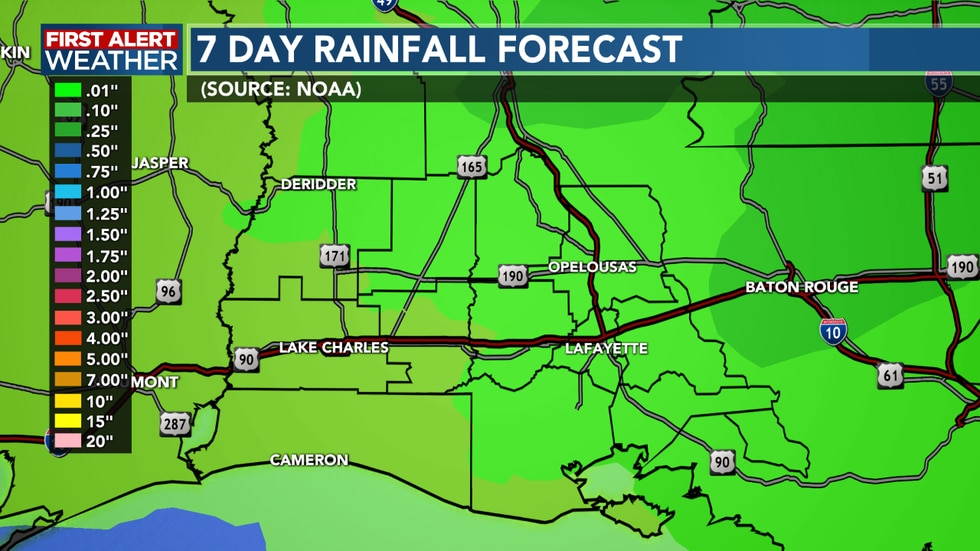 Rain totals remain on the lower side through the next 7 days