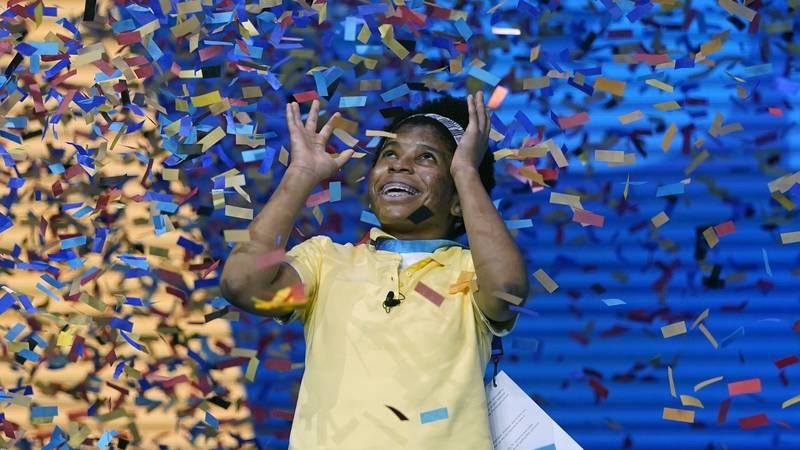 Zaila Avant-garde, 14, from Harvey, Louisiana is covered with confetti as she celebrates...