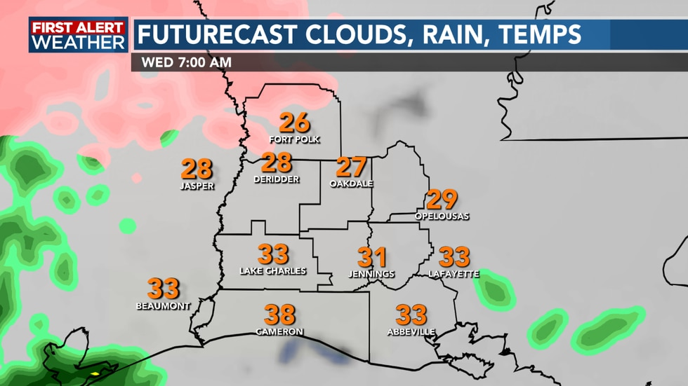 Wednesday morning we could see some light freezing rain or sleet before all rain