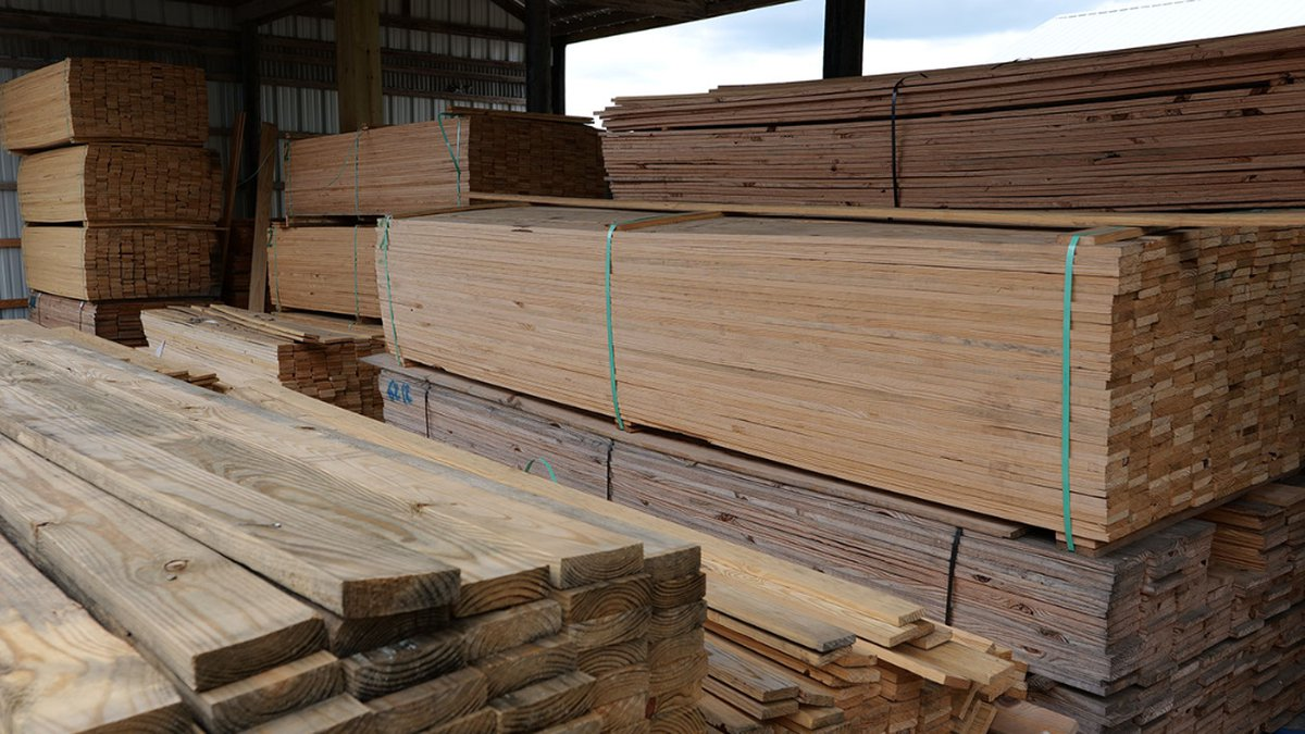Finished lumber products are organized at Blanchard's Building Materials in Plaquemine,...