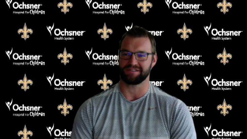 Saints defensive lineman Margus Hunt speaks with reporters via video conference