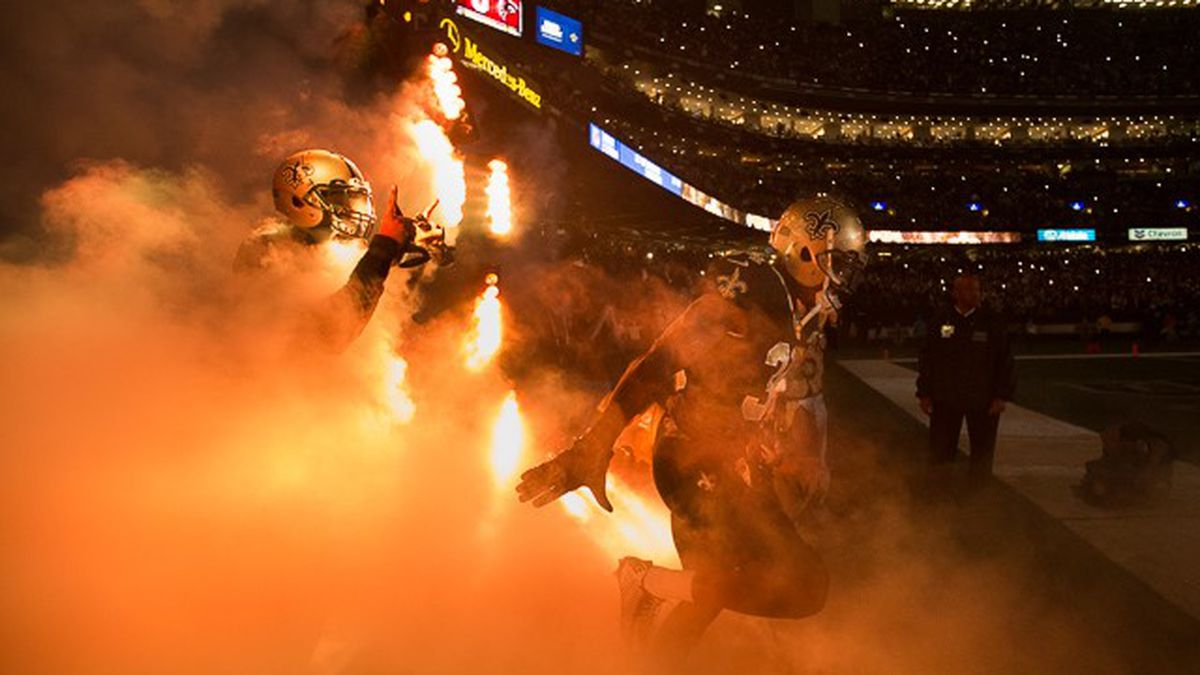 The Saints enter the field through a plume of smoke before a home game (Source: Mark LaGrange)
