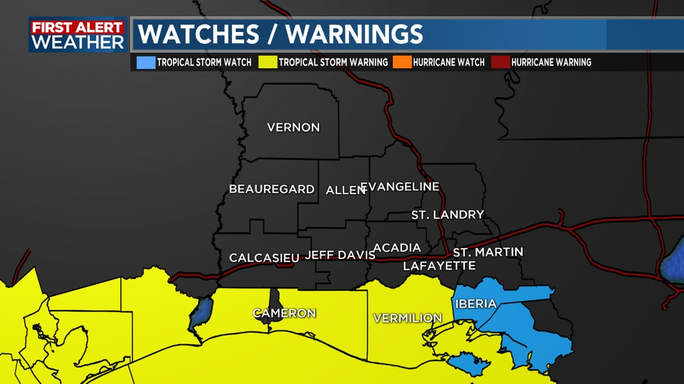 A Tropical Storm Warning has been issued for Cameron Parish