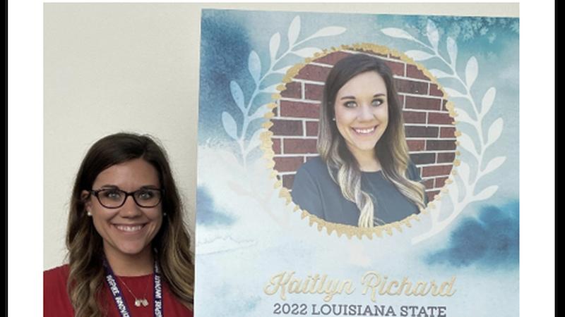 Kaitlyn Richard, South Beauregard Elementary second grade teacher, who was named a state...