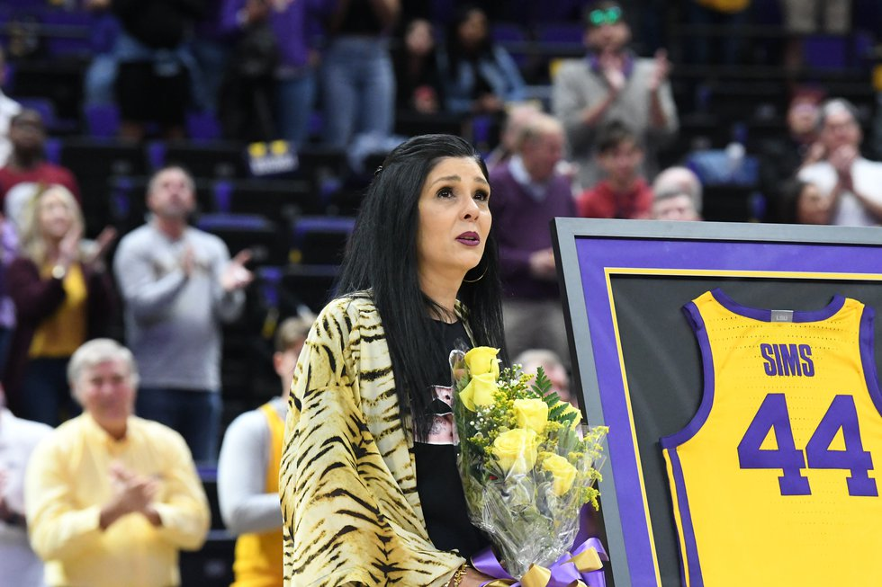 The mother of former LSU basketball player Wayde Sims attended the team's senior day...