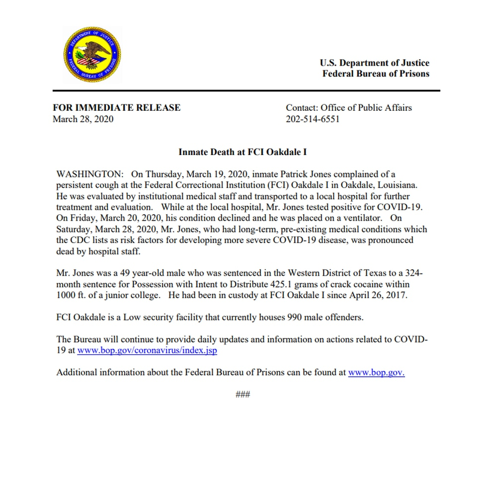 Oakdale FCC marks first Covid-19 death