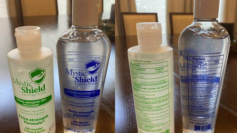 The sanitizer is packaged in an 8.45 ounce (250 ml) blue or green labeled bottle with a white...