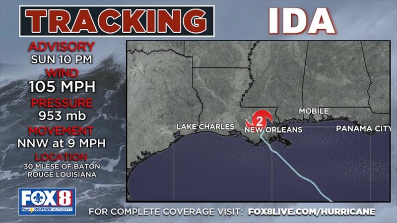 Hurricane Ida 10 p.m. advisory