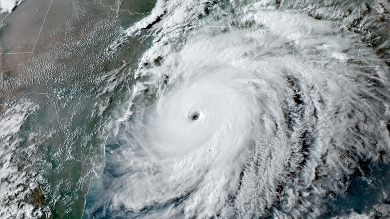 NOAA's GOES-East satellite captured this image of Hurricane Laura on August 26, 2020, as it...