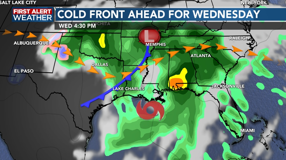 Cold front arrives bringing storms Wednesday, pushing Zeta east