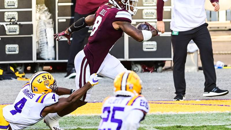 Mississippi St. Bulldogs play against the LSU Tigers during a game in Tiger Stadium in Baton...