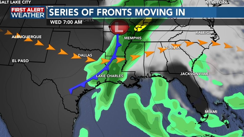 A stronger front pushes through on Wednesday as we see showers and storms around