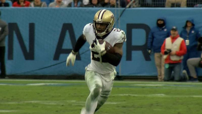 Saints defensive back C.J. Gardner-Johnson mounts a return after forcing and recovering a fumble