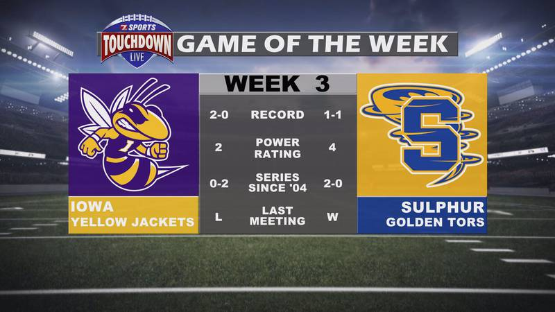 Iowa at Sulphur has been named week three's TDL Game of the Week.