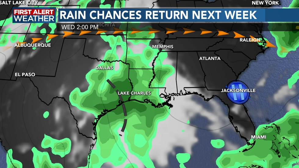 Our rain chances will make a return moving into next week