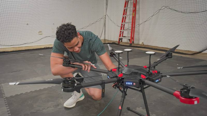 A member of Deuce Drone in the testing facility.