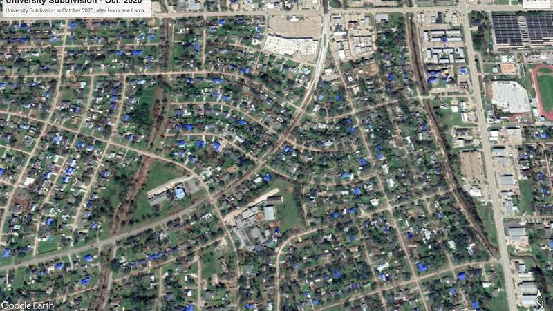 University Subdivision in October 2020, after Hurricane Laura.