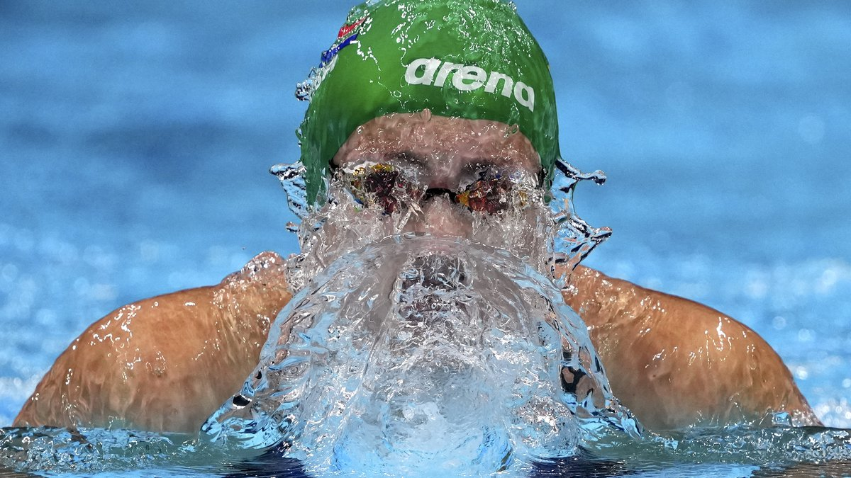 Tatjana Schoenmaker of South Africa swims in a women's 200-meter breaststroke semifinal at the...