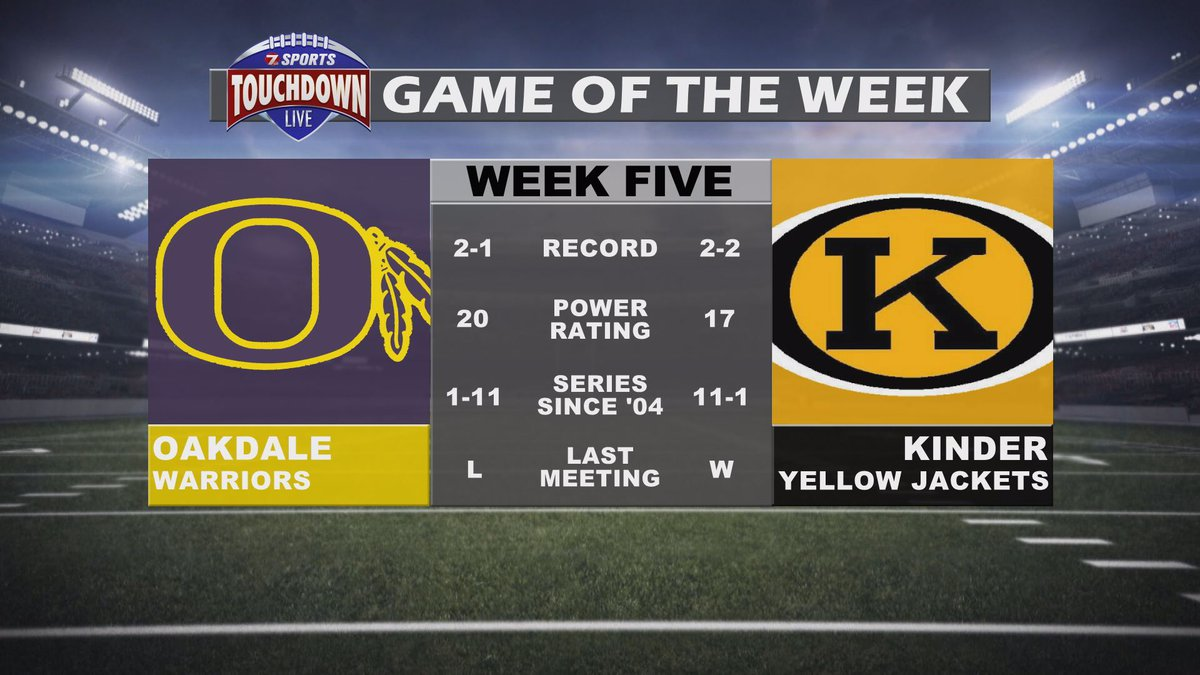 The TDL Game of the week for week five is Oakdale at Kinder.
