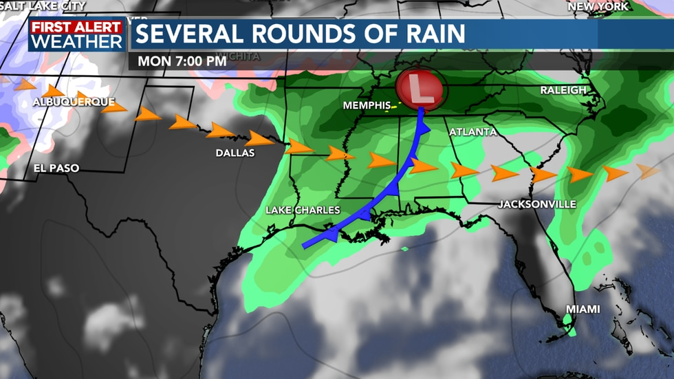 Another front brings showers and storms Monday