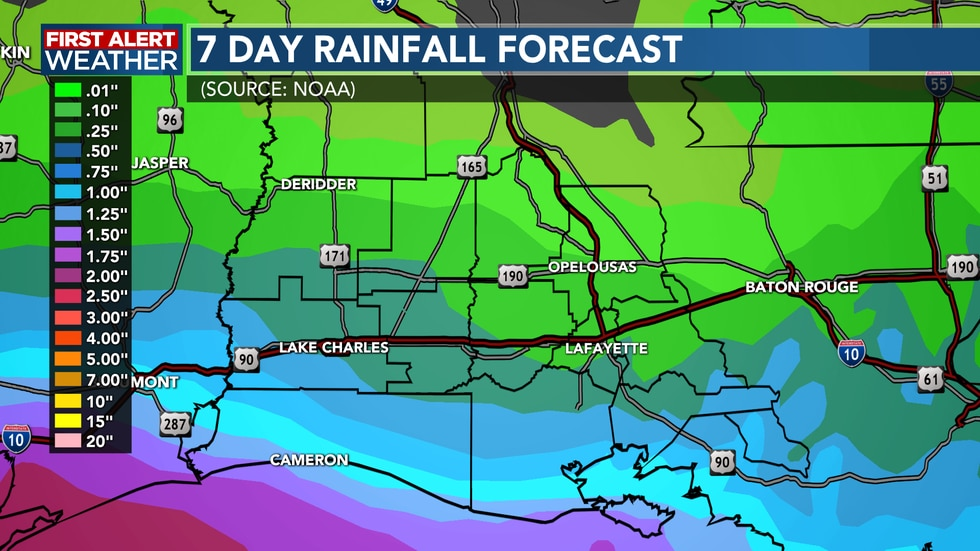 Rainfall will be reversed at the end of the 7-day forecast