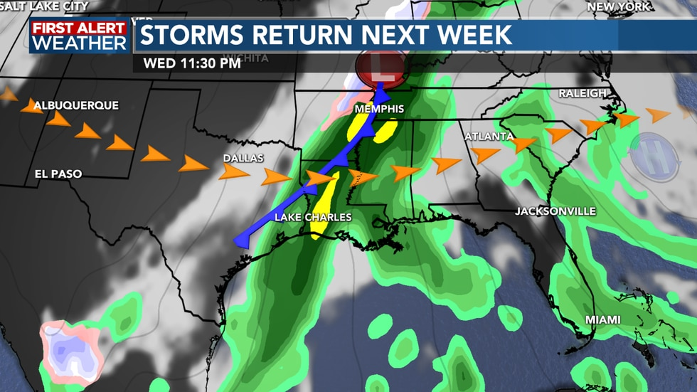 rain and storms look to  make a return as we head into next week