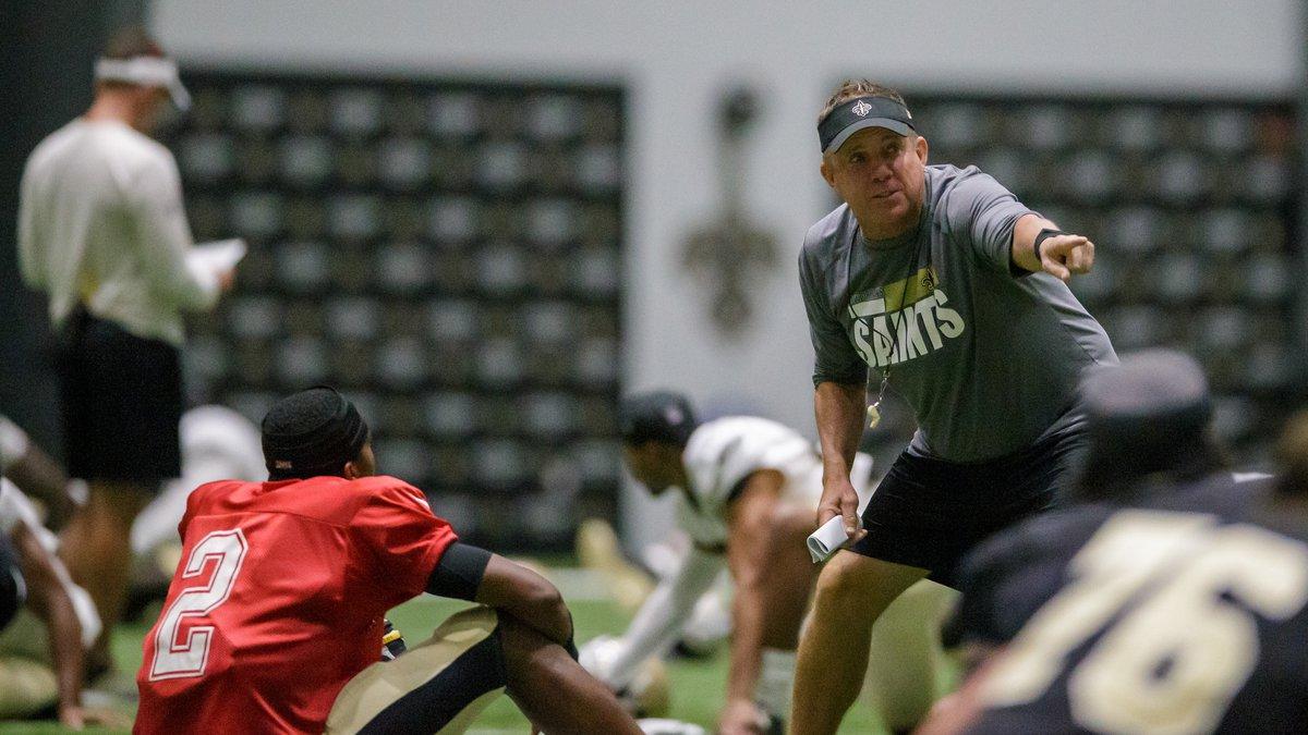 New Orleans Saints head coach Sean Payton talks with New Orleans Saints quarterback Jameis...