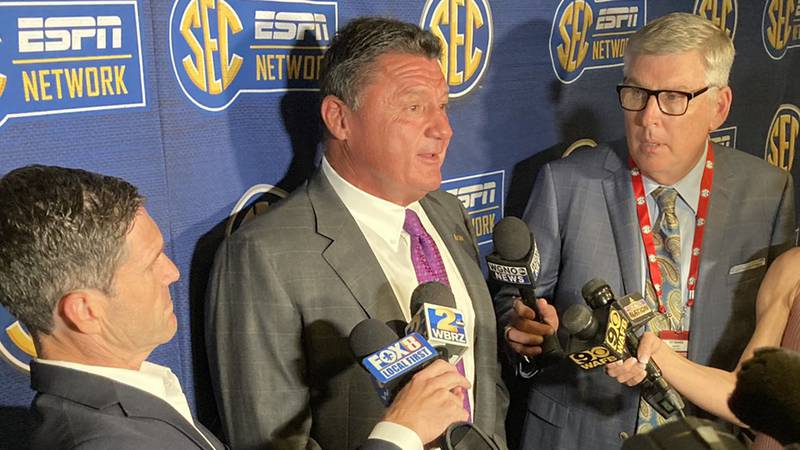 LSU head coach Ed Orgeron fields questions from sports journalists on Monday, July 19, 2021.