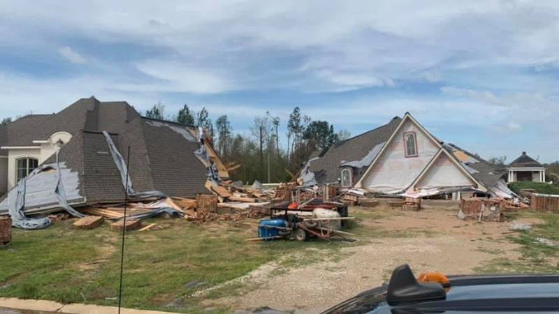 Pictures of destroyed homes in Carlyss, Louisiana sent to Angela Clopton.