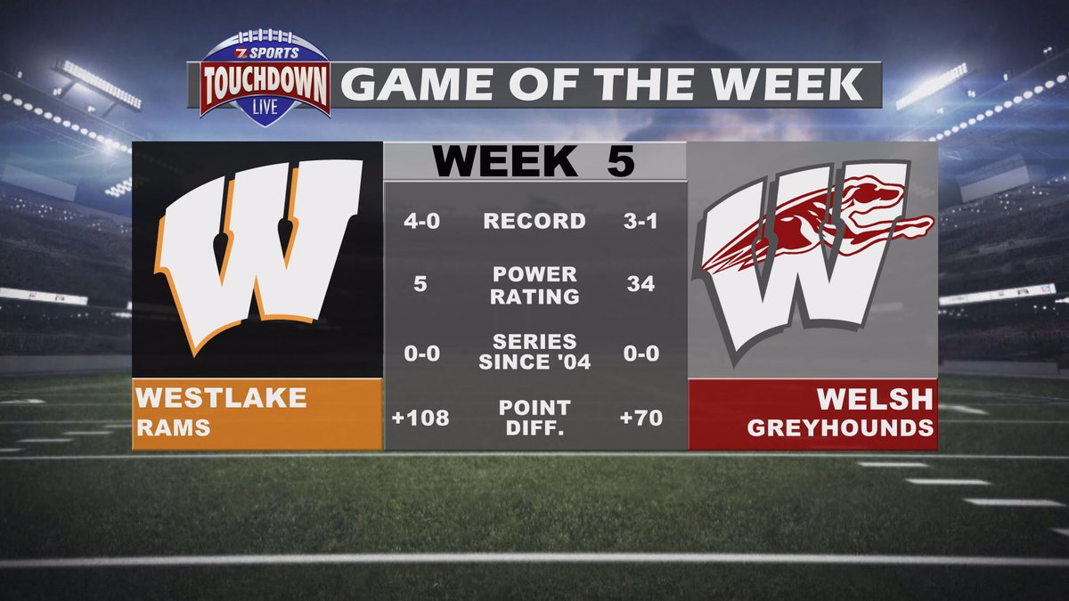 The Touchdown Live Game of the Week is headed to Welsh for the Greyhounds' matchup against...