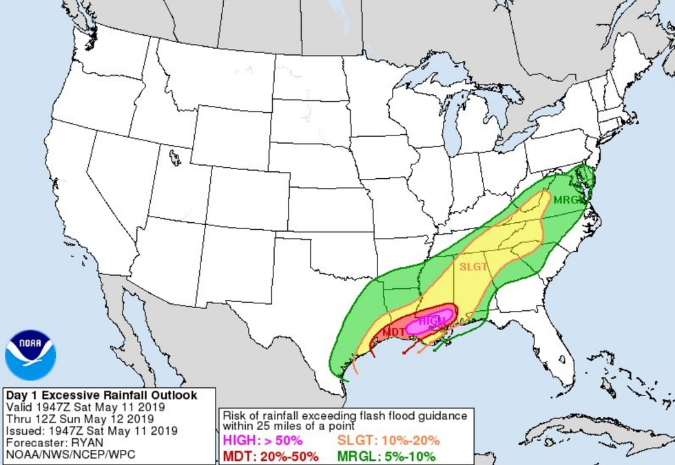Excessive rainfall forecasts are produced 3 days out from an event