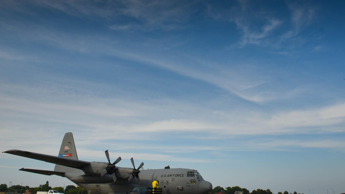 In this file photo, A modified U.S. Air Force C-130 Hercules assigned to the 757th Airlift...