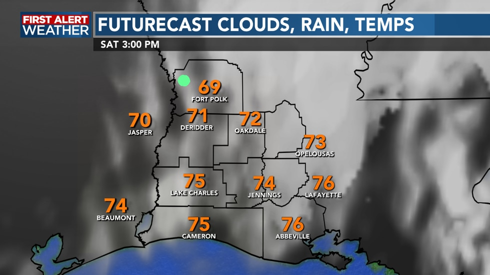 We see clouds hanging tough for Saturday, with slightly cooler temperatures