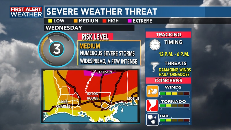 Strong to severe storms will be possible starting around noon through the early evening