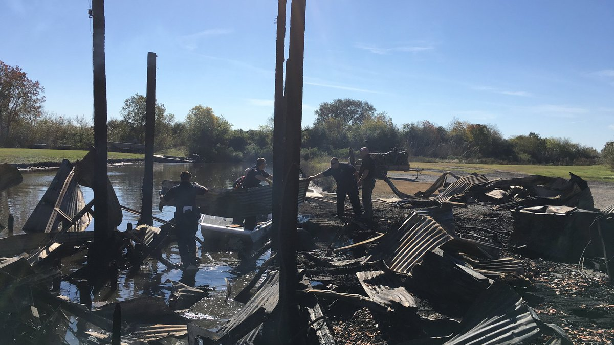 Boathouse fire Sunday afternoon at the Grosse Savanne.