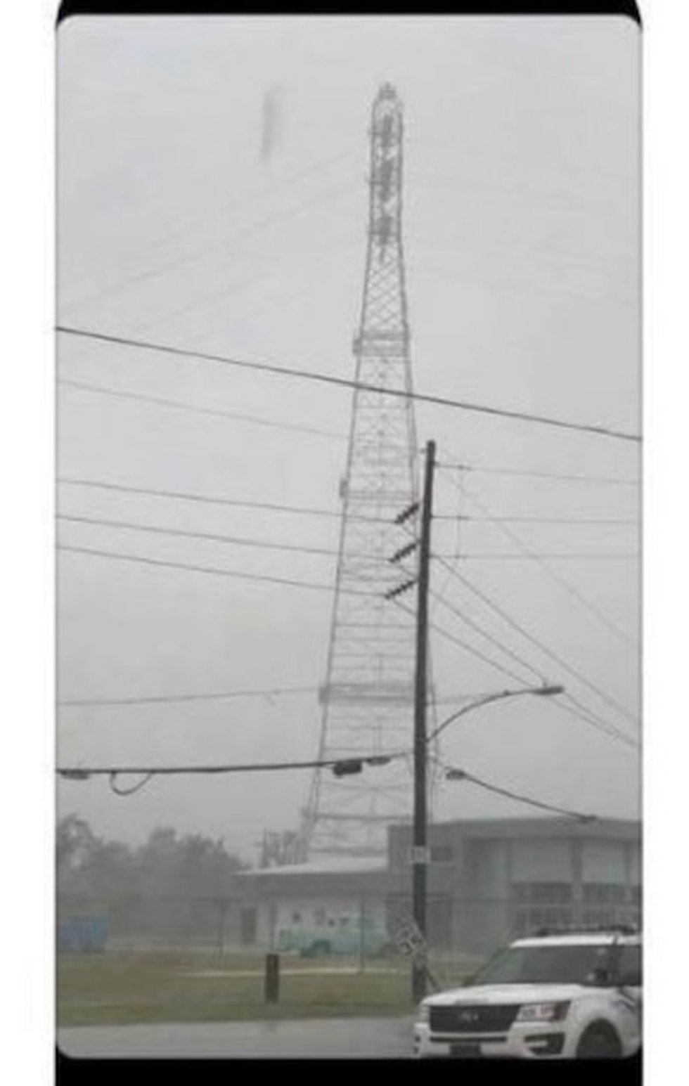 Major transmission tower collapses in Jefferson Parish; before and after.