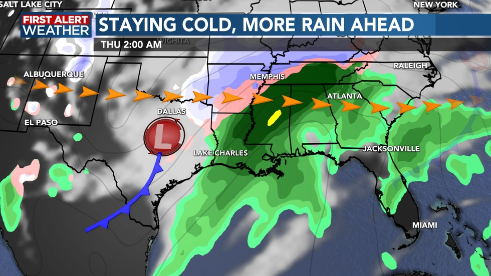 Another system brings rain and even the chance of some sleet mid week