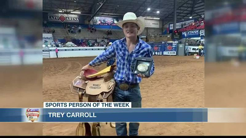 Trey Carroll after winning the 2021 Little Britches bull riding championship