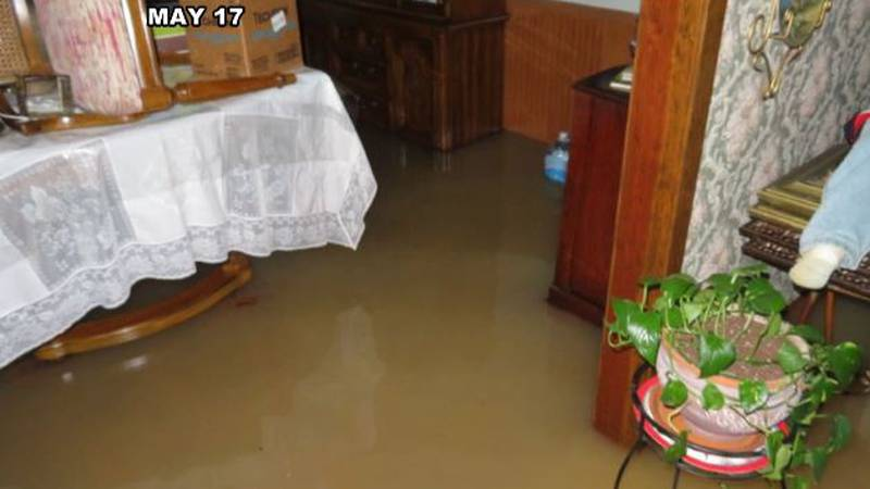 Flooding May 17 inside one family home on Louisiana Avenue, south of McNeese Street where...