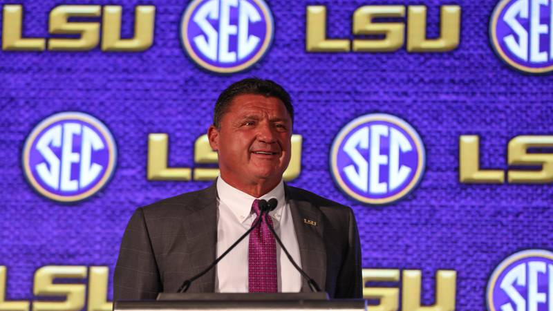 LSU head coach Ed Orgeron speaks to the media during the 2021 SEC Football Kickoff Media Days...