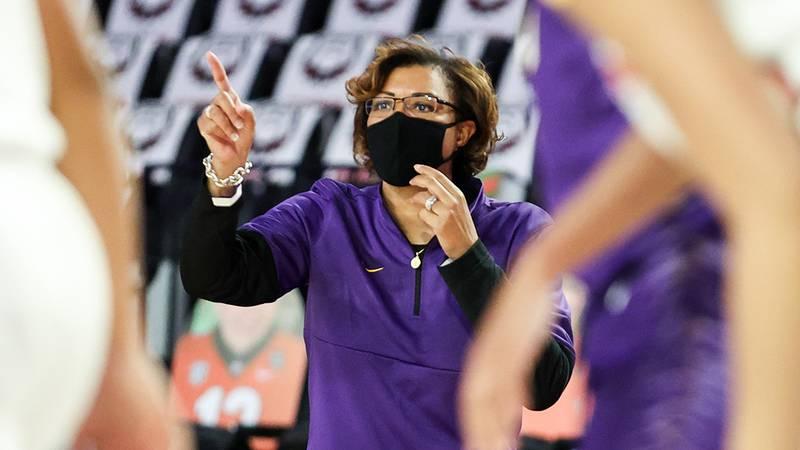 LSU head coach Nikki Fargas during a game against Georgia at Stegeman Coliseum in Athens, Ga.,...