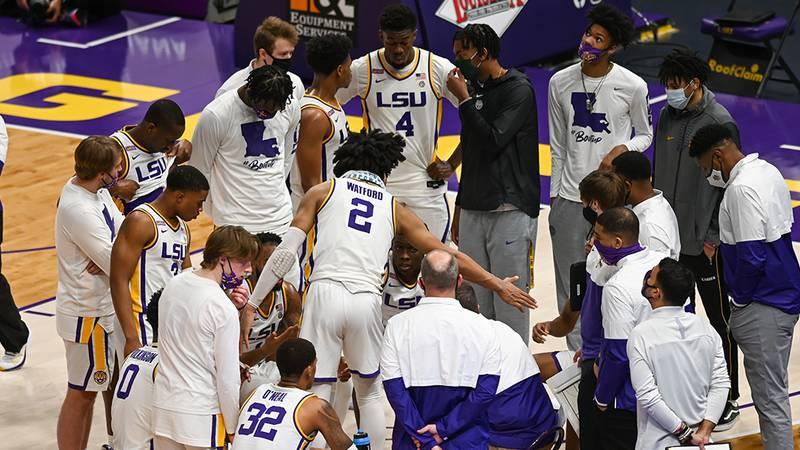 The LSU men's basketball team takes on Alabama at the PMAC on Tuesday, Jan. 19, 2021, in Baton...