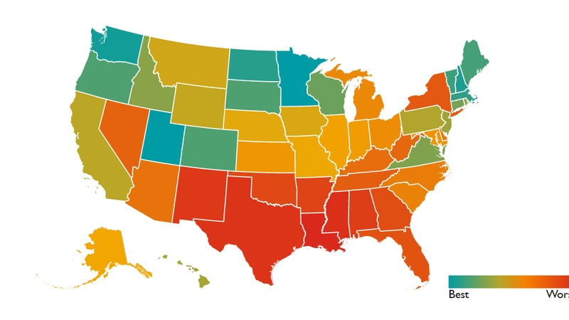 Save the Children's 2021 Childhood Report map reports Louisiana is the worst state for children...