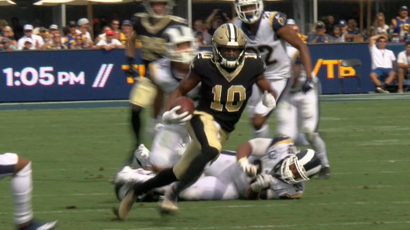 Saints wideout Tre'Quan Smith breaks loose for a big gain against the Rams on the same play he...