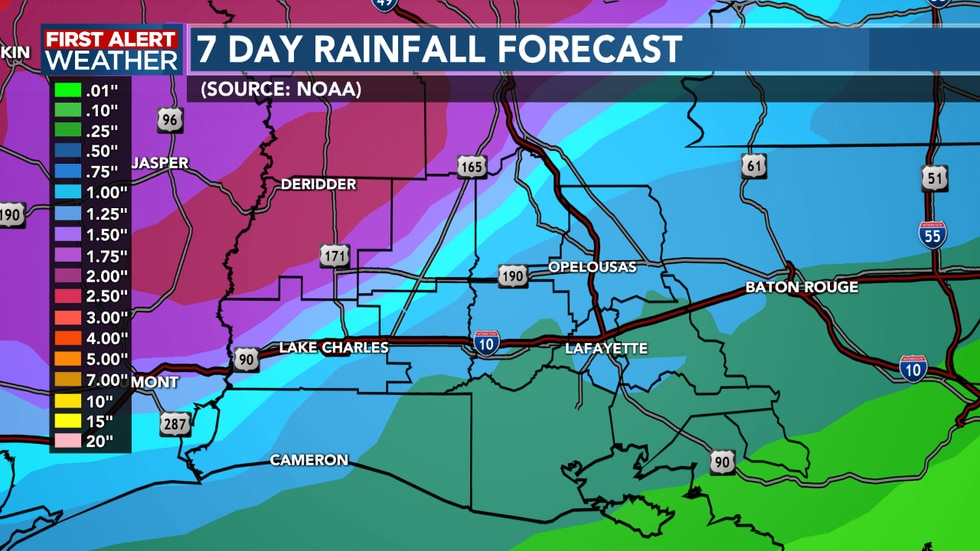 We could see a few inches of rain into next week