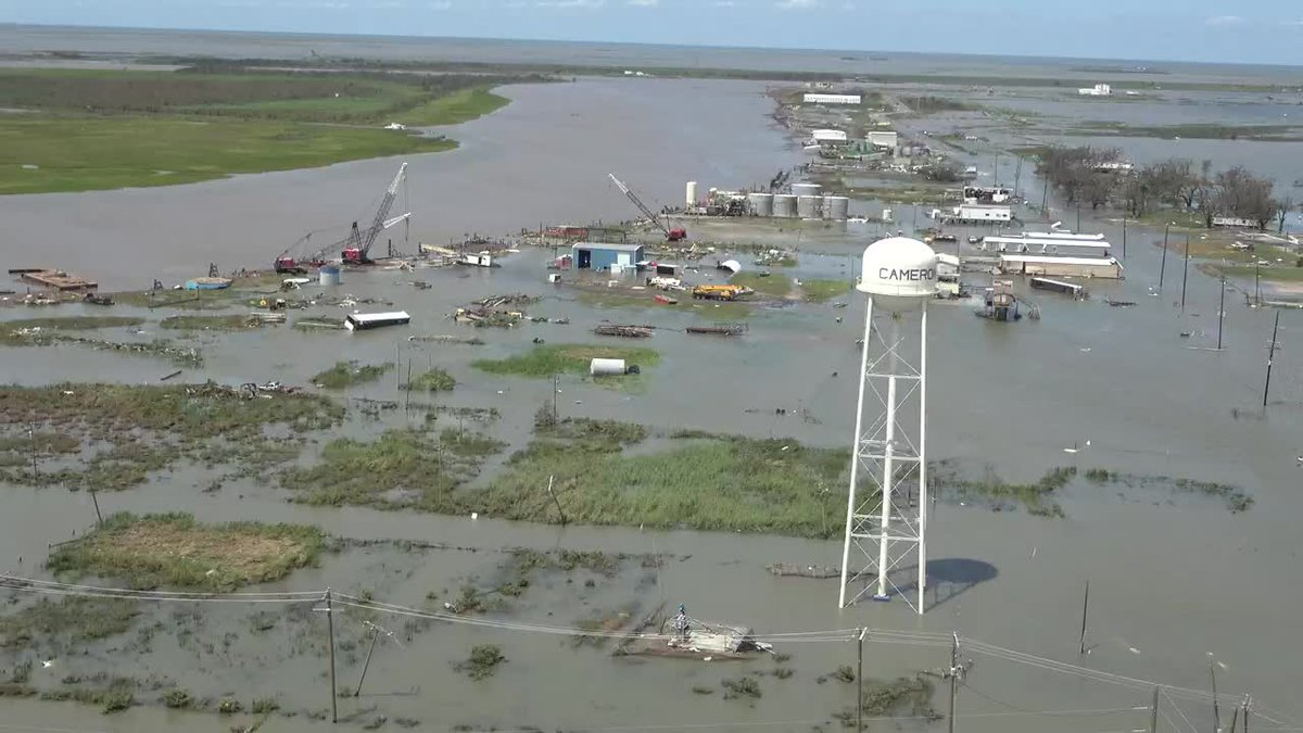 Helicopter video shows extensive flooding and storm damage from Hurricane Laura in the Cameron,...